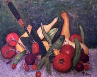 Still Life, Vegetables, Tomato Painting, Cucumber Painting, Onion, Squash, Garden Harvest, Original Oil Painting, Okra, Helen Eaton