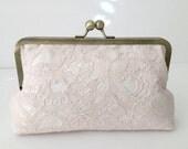 Bridal Clutch Blush pink Lace over silk heirloom bridesmaid clutch, Luxurious Wedding Clutch Blush- pretty, elegant, beautiful