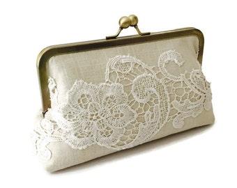 Linen and lace bridal clutch, heirloom bridesmaid clutch, wedding accessory, casual wedding, country wedding