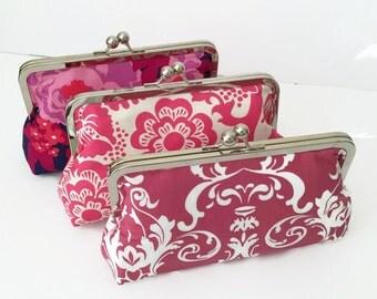 Pretty Pink Clutch Purses,  Bridesmaid Clutches,  Custom Clutch set, Bridesmaid Gifts, Wedding Purse, Wedding Accessory