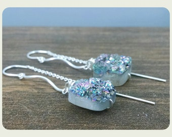 Druzy Quartz Earrings, on Threaders, rainbow druzy, grey, mother's day, druzy, iridescent, platinum, gifts under 50, cyber monday