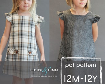NEW  Dorset dress PDF sewing pattern and tutorial 12m-12y  tunic dress jumper  easy sew