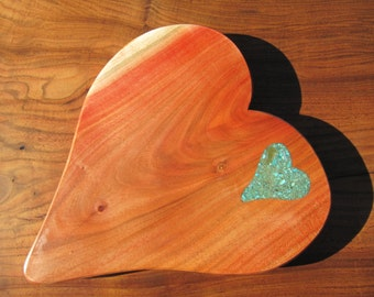 Carob Wood Cheese board/Bread board 3, with turquoise and mica