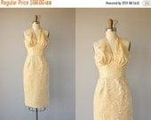 25% OFF SALE... Vintage 1950s Cocktail Dress | Gold Brocade Dress | 50s Halter Dress | 50s Wiggle Dress | 1950s Holiday Dress