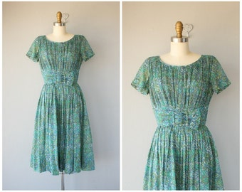 1950s Teal Mosaic Print  Dress | 50s Dress | 1950s Dress | 50s Printed Dress | 50s Day Dress | 1950s Party Dress