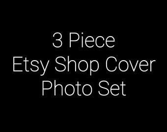 3 Piece Etsy Shop Cover Set - Etsy Shop Cover Set - Your Choice of Premade Design
