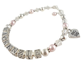 Big Sister Customizable Bracelet for Gifts, baby. Choose from pink or any color and size selection and any name