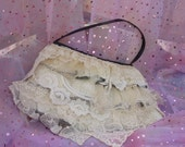Gypsy Bag, Boho Bag, Cottage Chic, Ivory Purse, Small Purse