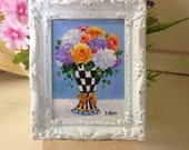 Miniature Original Painting in White Frame by Susan Rios