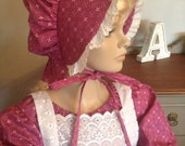 Girls Pioneer Prairie Colonial Historical costume Dress with Bonnet and Pinafore READY to ship size 8