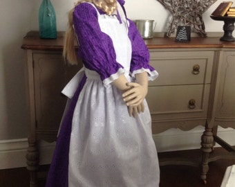 New girls Pioneer Prairie Colonial Historical Dress Costume with Pinafore and Bonnet READY to ship size 14