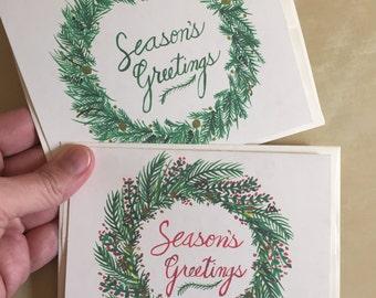 Season's Greetings Greeting Cards - Set of 2