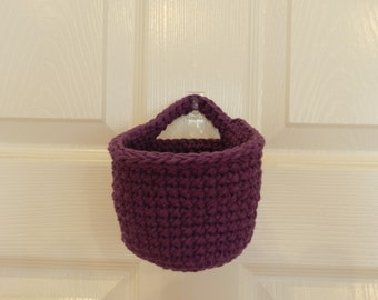 Crocheted Hanging Basket/ Small Crochet Basket/ Blackberry Crocheted Hanging Basket