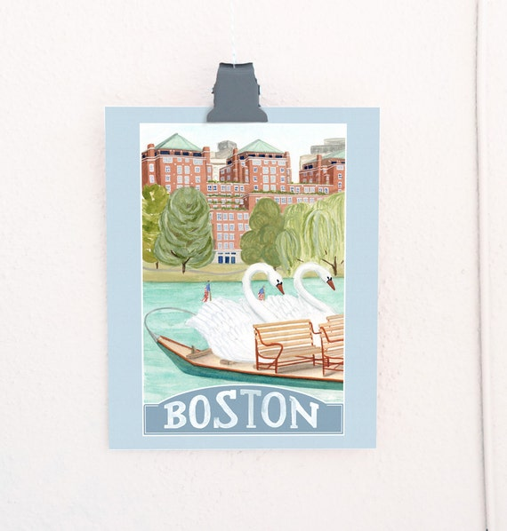 Boston, Massachusetts Travel Poster art print of an original watercolor illustration