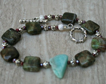 African Green Opal, Bracelet, mixed stones, crystal, amazonite, silver plated jewelry, green jewelry, BOHO, chic style, natural bead jewelry