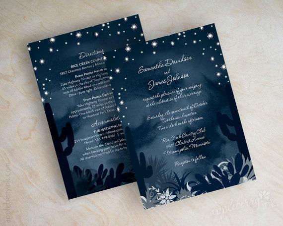 Navy Blue And Silver Wedding Invitations: Items Similar To Desert Wedding Invitations, Cactus