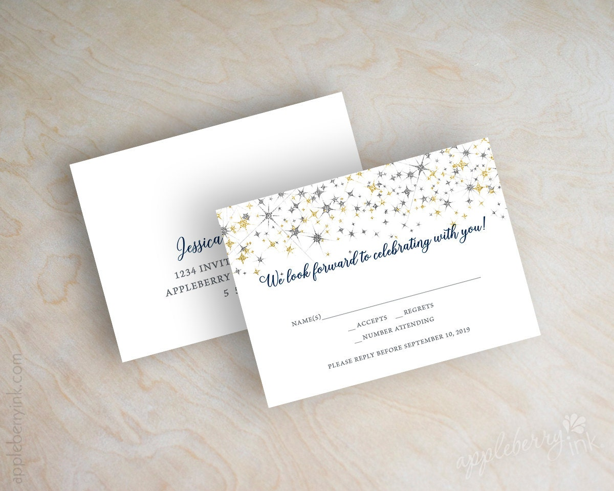 Navy Blue And Silver Wedding Invitations: Wedding Invitations Navy Blue Watercolor Silver Glitter