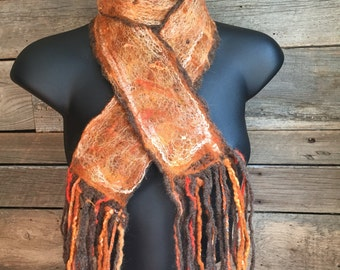 Felted Scarf, Boho Scarf, Orange Felt Scarf, Unique Scarf, Felted Neckwarmer, Women's Accessory, Cozy Crochet Scarf, Gift Idea for Her