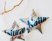 HUGE Natural Light Beer Stars, Christmas Ornaments Aluminum Can Upcycled