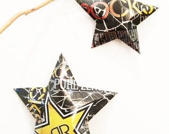 Rockstar Pure Zero Sugar Zero Carb Mango Orange Passionfruit Energy Star Ornaments Soda Can Upcycled