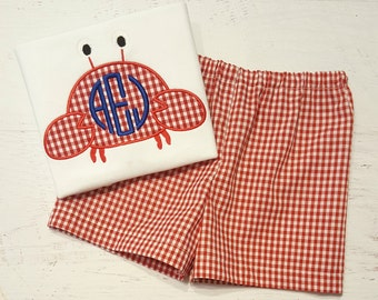 Monogrammed Crab Outfit - Crab Shirt - Red Gingham Shorts - Boy Summer Outfit - Beach Outfit - Gingham Shorts - Gingham Crab Applique - Crab