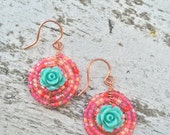 Coral turquoise beaded flower earrings, Seed bead earrings, small circle flower earrings, yellow floral earrings, orange flower earrings