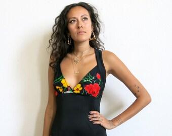 70s Maxi Dress / Black Floral Evening Dress / Racerback Sz S