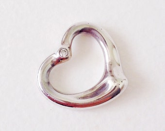Vintage Tiffany & Co. Elsa Peretti Open Heart Pendant with diamond