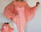 Knit Summer Coverup Plus Size Poncho, Oversized Tangerine Peach Top Tunic Crochet Kaftan, Cape Spring Women Fashion Accessory, Gift Her