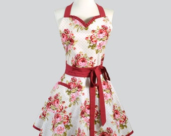 Sweetheart Retro Womans Apron . Flirty Sexy Cute Kitchen Cooking Apron in Vintage Deep Red Roses Ivory Full Hostess Womens Aprons