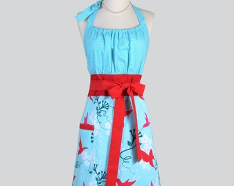 Cute Kitsch Apron / Michael Miller Flora and Fauna Red Hummingbirds Turquoise and Red Trims
