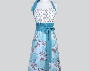 Cute Kitsch Retro Aprons , Full Chef Vintage Kitchen Womans Apron in Joel Dewberry Hydrangea Blue Handmade Hostess Cooking Womens Apron