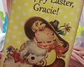 6 PAK Vintage Happy Easter Tags / Adorable Vintage Girl Lamb / Favor Gift Basket Tag / Gift Box Tag / Customize YourText / 1-2 Day Ship