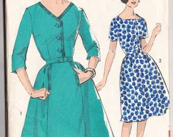 Vintage 1963 Advance 2982 UNCUT Sewing Pattern Misses' Half-Size Dress with Two Necklilne Size 20-1/2 Bust 41