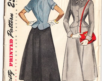 Vintage 1949 Simplicity 2743 Sewing Pattern Junior's, Misses' Two-Piece Dress Size 12 Bust 30