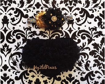 Baby Girl BLOOMER and HEADBAND SET- Black and Gold sparkle Ruffle Bum Baby Bloomer with Satin Bow , Baby girl Headbands ,Diaper Cover