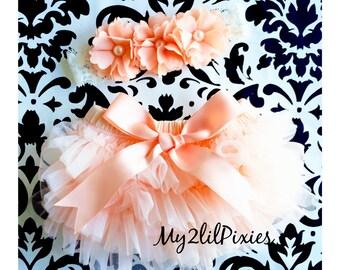 Baby Girl BLOOMER and HEADBAND SET- Peach Ruffle Bum Baby Bloomer with Satin Bow, Baby girl Headbands ,Diaper Cover, newborn bloomers