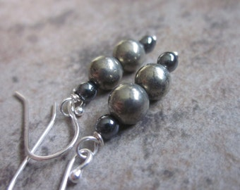 Winter Inspired Earrings, Natural Grey Pyrite, Black Hematite, Mixed Gemstone, 925 Sterling Silver, Fool's Gold, Hostess Gift, Philosophia