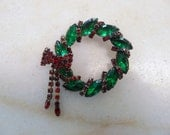 Vintage Green and Red Rhinestone Christmas Wreath Brooch