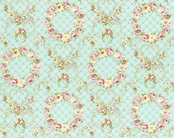 Rococo Sweet 2016  Wreaths of Roses on Aqua Cotton Fabric Lecien 31362-60