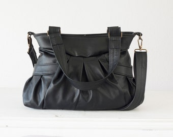 Leather convertible bag in black, over shoulder bag crossbody messenger bag purse crossover leather -Elessa bag