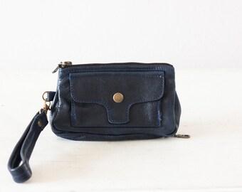 Dark blue leather wristlet wallet,phone wallet,womens wristlet,zipper wallet, clutch wallet, iPhone wallet- Thalia Wallet