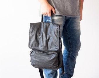 Black mens bag leather crossbody backpack,laptop bag 13,unisex bag,messenger,crossover bag,macbook 13 bag- The Talos Bag