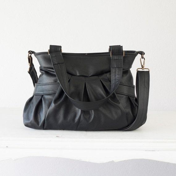 Leather convertible bag in black, over shoulder bag crossbody messenger bag purse crossover leather -Elessa bag