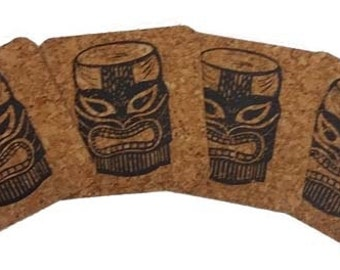 Tiki-Coastal Cork Coasters-Hostess Gift/Party/Home Decor-Black