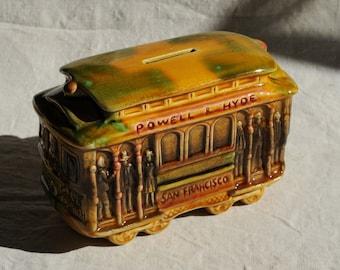 San Francisco streetcar ceramic coin bank, vintage yellow green glaze, SNCO