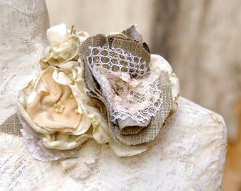 Rustic fabric flower corsage with lace, Dress flower in cream gold and sage, Bridal accessories