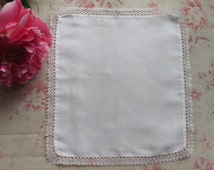1920s Hanky Case White Linen Tatted Lace Handkerchief Holder Vintage Boudoir Accessory
