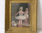 Little Ballerina Picture..Gold Plastic Framed Picture..Mid Century Picture