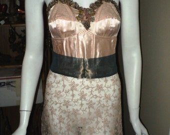 1920's  Bellasoiree Original Design Bustier Tunic attached Lace skirt Antique Ribbonwork Metallic Ruched Trim and matching Sash